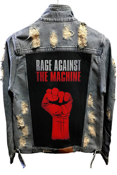 Jaqueta Jeans Destroyed Tradicional Rage Against