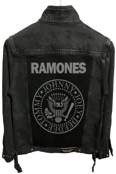 Jaqueta Jeans Rock Destroyed Preta Masculina Ramones