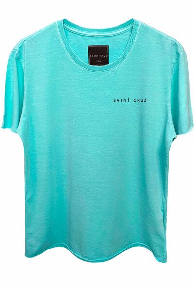Camiseta estonada azul água Tell Me (Back)