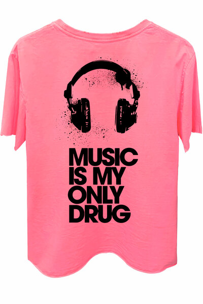 Camiseta estonada rosa Drug