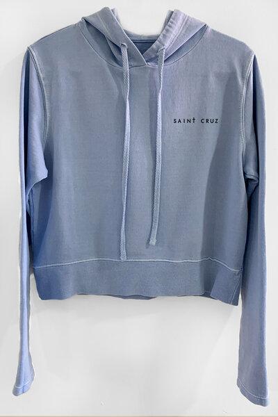 Blusa de moletom estonado azul Feminino Basic