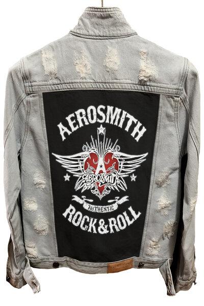Jaqueta Jeans Destroyed Cru Masculina Aerosmith