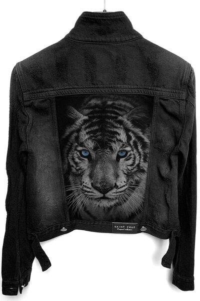Jaqueta Jeans Destroyed Preta Feminina Tiger