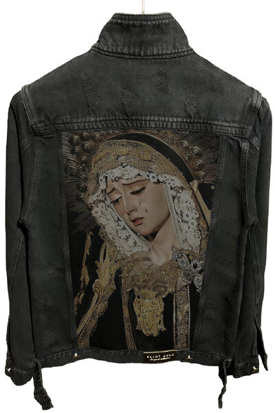 Jaqueta Jeans Destroyed Preta Masculina Saint