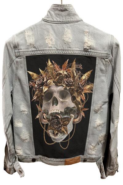 Jaqueta Jeans Destroyed Cru Masculina Gold Skull