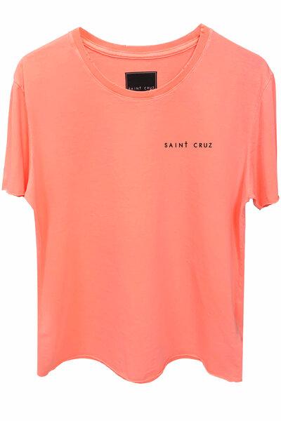 Camiseta estonada laranja Tell Me (Back)