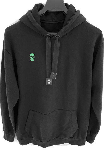 Blusa de moletom preto Skull (Estampa verde água)
