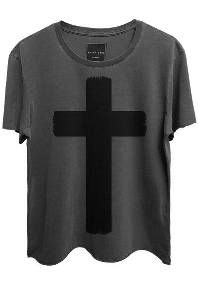 Camiseta estonada chumbo Crucifix