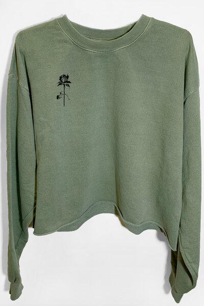 Cropped de moletom estonado verde Rose (Front)