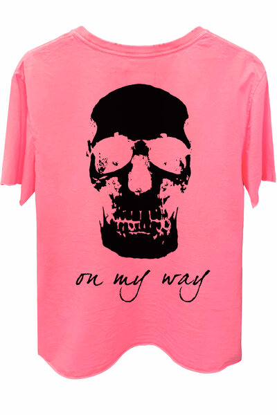 Camiseta estonada rosa On My Way (Back)