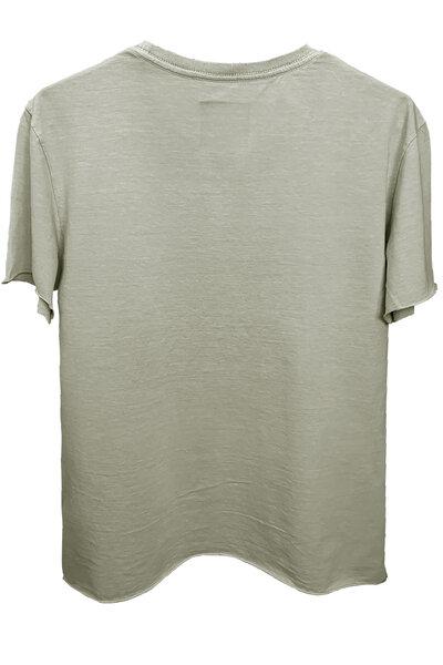 Camiseta estonada cinza clara Tell Me (Front)
