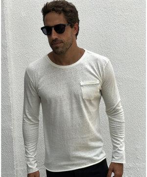 Camiseta Manga Longa Linho Organic Off White