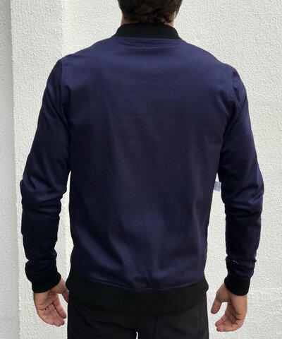 Jaqueta Bomber Dupla Face Sarja Azul