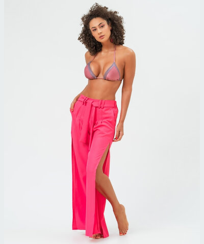 Calça Pantalona Fenda Lateral Pink