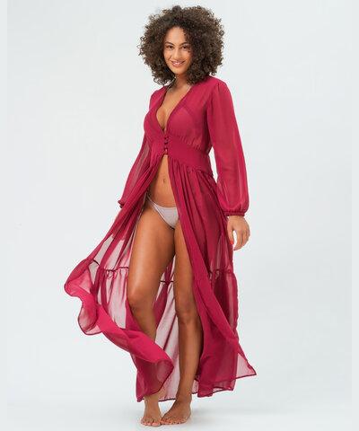 Vestido Chiffon Vinho