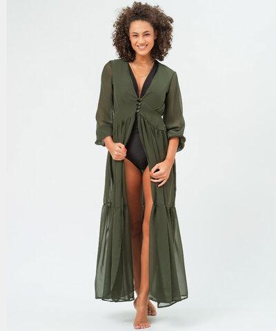 Vestido Chiffon Verde Oliva