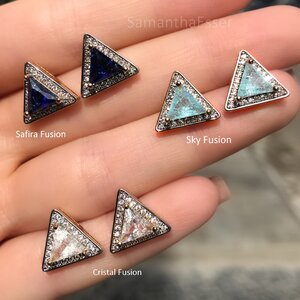 Brinco Triângulo Cravejado - OURO 18K
