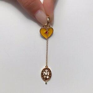 Charm Medalha Milagrosa e Coração Color - UNIDADE