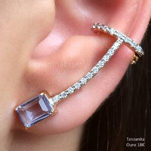 Ear Cuff Retângulo e Pontos de Zircs