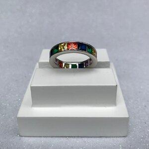Aliança Mini Quadrados Rainbow