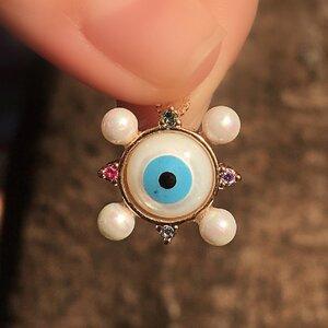 Colar Olho Grego Pérolas Pequeno