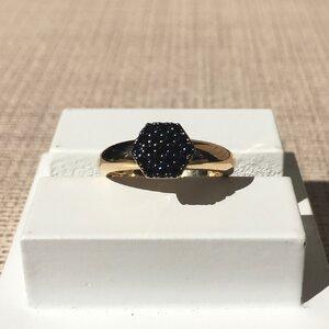 Anel Cravejado Hexagonal - BLACK