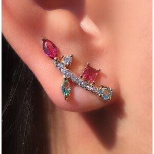 Brinco Ear Cuff Palito Formas Geométricas