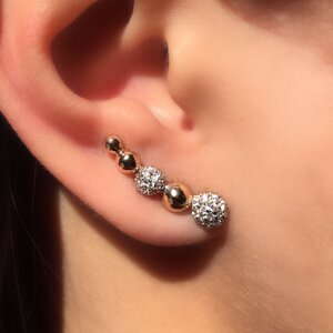 Brinco Ear Cuff Esfera Cravejada