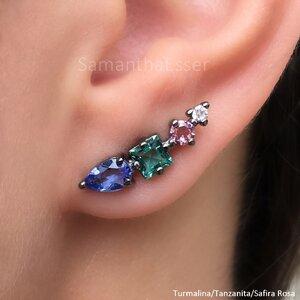 Ear Cuff 3 Pedras e Ponto de Zircônia