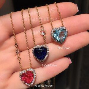 Colar Tiffany Coração Galeria Trabalhada - OURO 18K