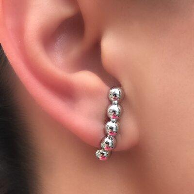 Brinco Ear Hook Mini Balls banhado a Ouro 18k ou Ródio Branco