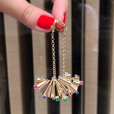 Brinco Pêndulo Leque Com Zircônias Colors Banhado a Ouro 18k