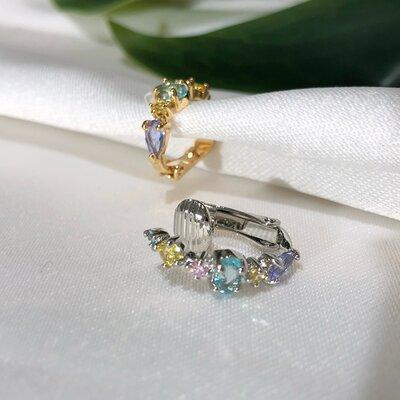 Piercing Aurora Candy Em Prata Com Cristais Coloridos