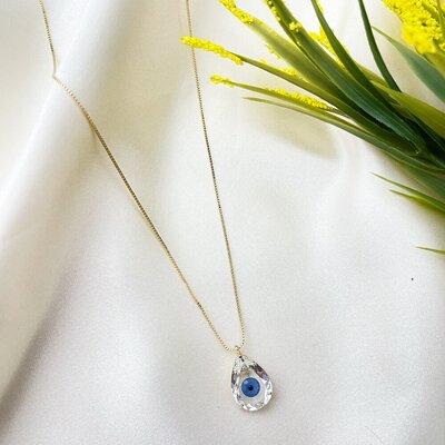 Colar Gota Cristal Stone com Miolo Olho Grego na Pedra