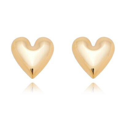 Brinco Shape Coração Liso Banho em Ouro 18k