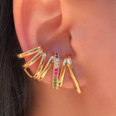 Brinco Ear Cuff Adriana Cravejado Zigue Zague