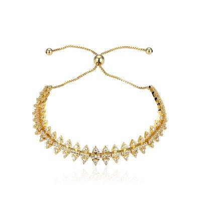 Bracelete Ajustável Glam Cravejado Spike - Ouro 18k