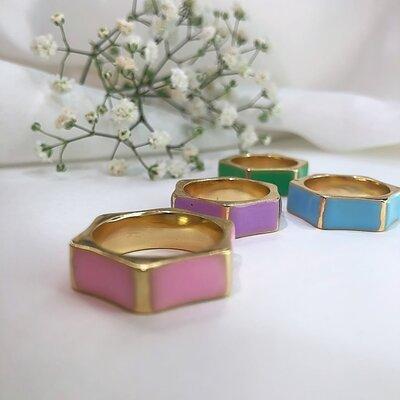 Anel Hexagonal Esmaltado Colors - Banho em Ouro18K
