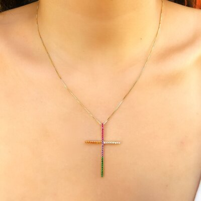 Colar Crucifixo Palito Mini Rainbow