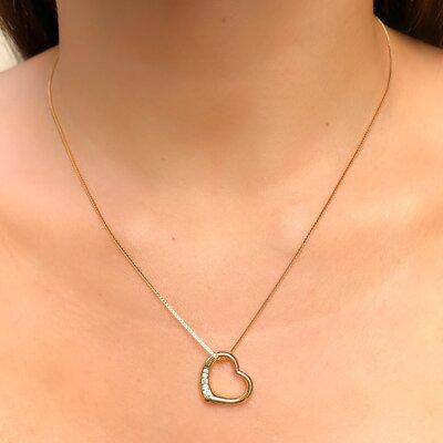 Colar Amour Vazado Detalhe Cravação em Zircônia - Ouro 18k