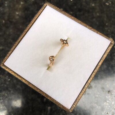 Anel Shine Falange Banhado a Ouro 18k com Detalhe de Cristal