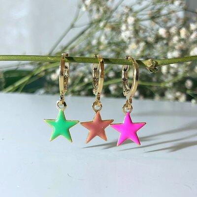 Brinco Trio Argolinha Com Pingentes de Estrelas Esmaltadas