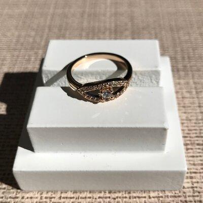 Anel Olho Grego e Mini Zircônias Cravadas Ouro 18k