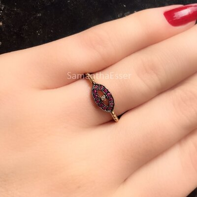 Anel Olho Grego Ruby OURO 18K