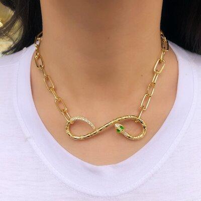 Choker Chain Snake Green Eyes Stone