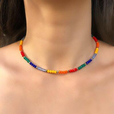 Choker Rainbow Cristais Coloridos E Hematitas