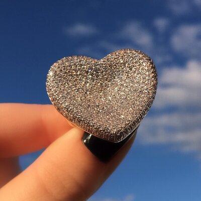 Anel Coração Cravejado com Zircônias Banho Ouro 18K