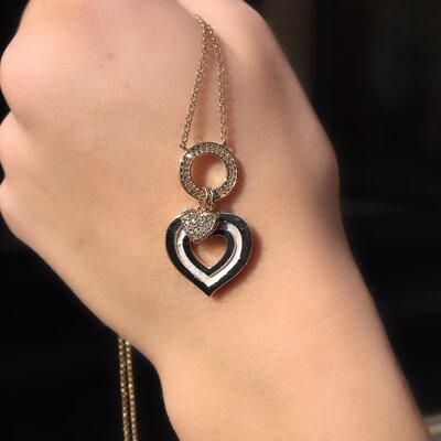 Colar Coração Esmaltado Cravado Mini Zircônias Banho Ouro 18K