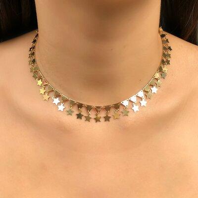 Choker Design Estrelas e Triângulos Ouro 18k