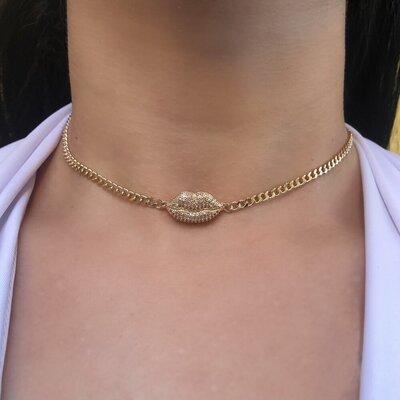 Choker Lip Kiss Thassia Corrente Groumet Cristal
